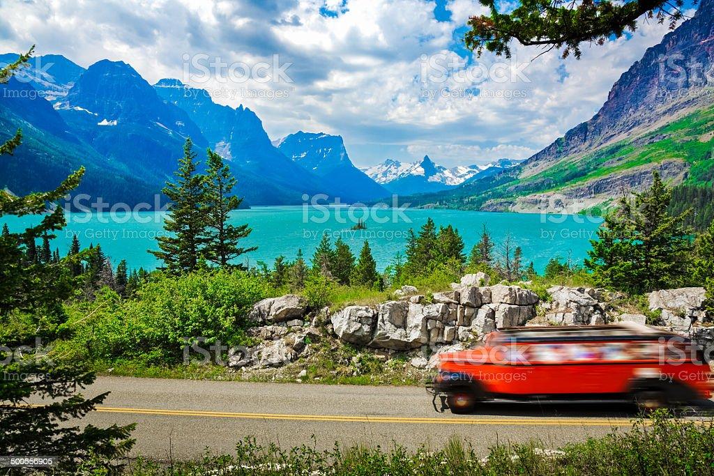 St. Mary Lake, mountains, Glacier National Park, road trip, tourism stock photo