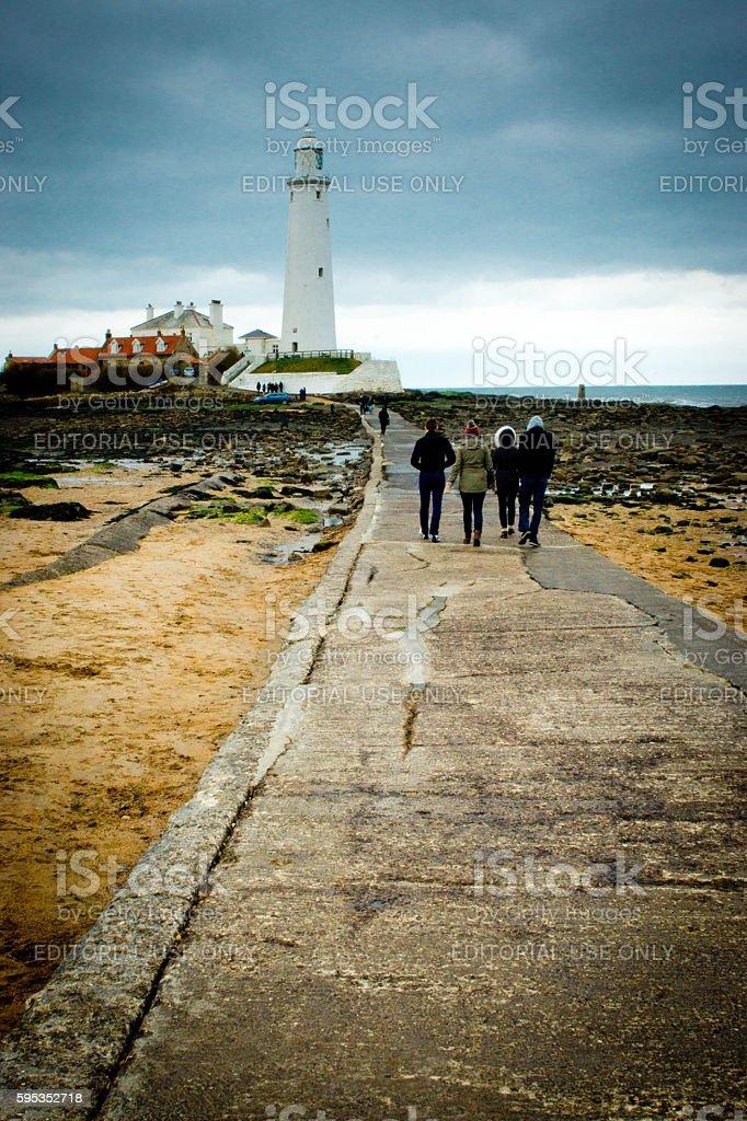 St Mary lighthouse stock photo