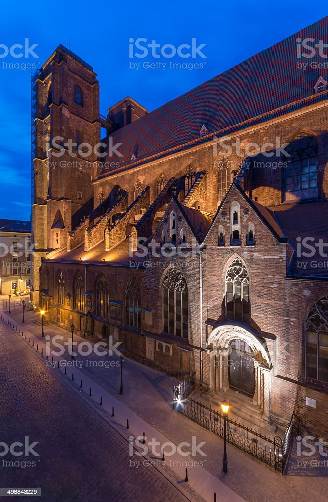 St Mary Magdalene church in Wroclaw, Poland in the night stock photo