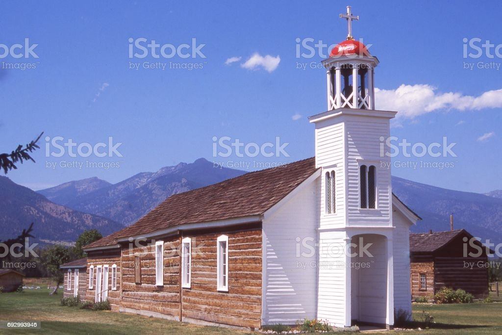 St Mary Mission in the Bitteroot Valley Montana near Stevensville established by Father deSmet stock photo