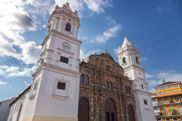 St. Mary Sacred Heart Cathedral Basilica Church Building Exterior in Casco Viejo Old Town Panama City stock photo