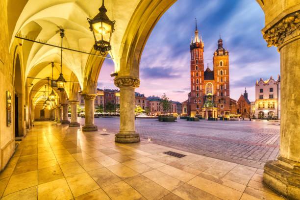 St. Mary's Basilica on the Krakow Main Square at Dusk, Krakow, Poland stock photo