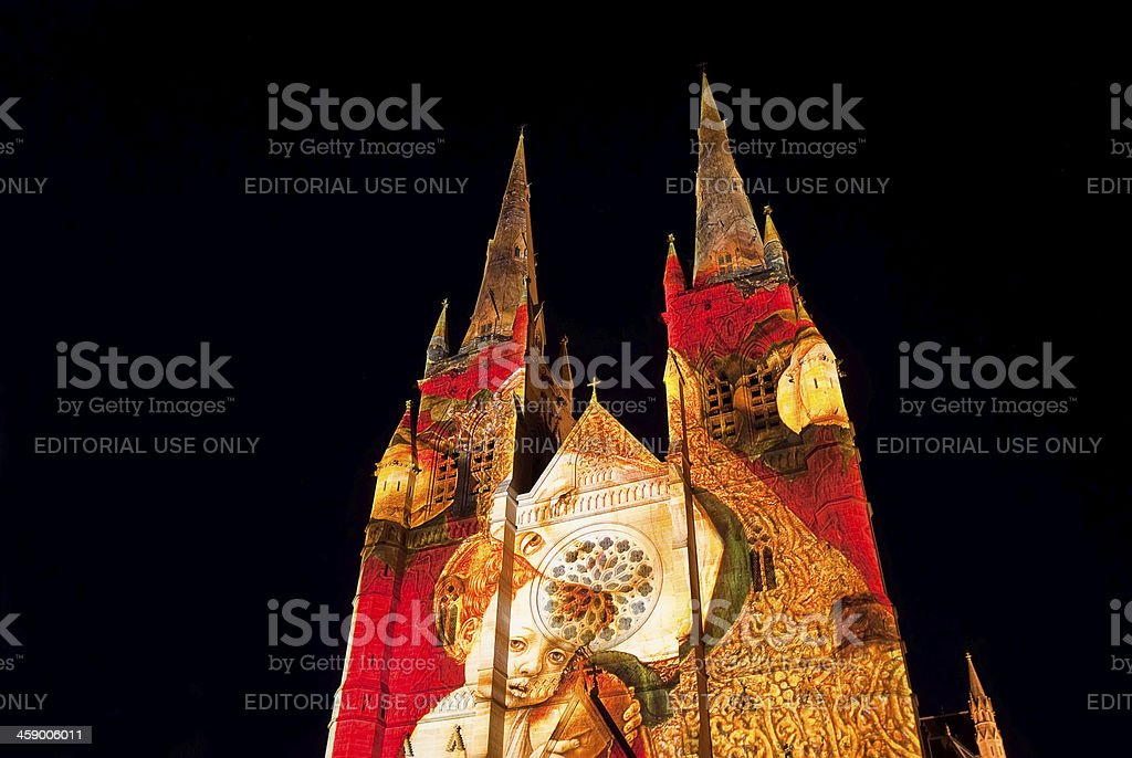 St Mary's Cathedral - Lights of Christmas royalty-free stock photo