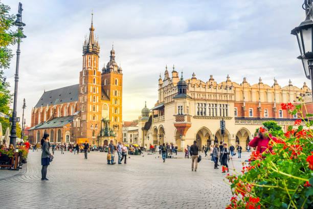 St. Mary's church and Cloth's Hall by sunset, Krakow, Poland stock photo