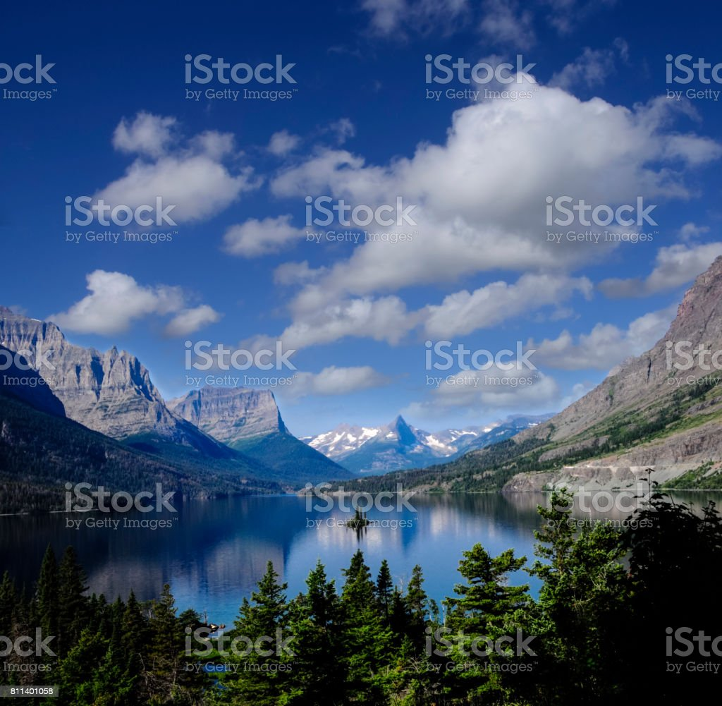 St. Mary's Lake and Wild Goose Island stock photo