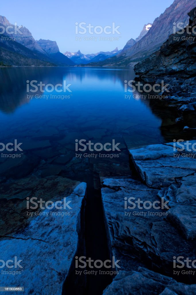 St. Mary's Lake Blue Hour royalty-free stock photo