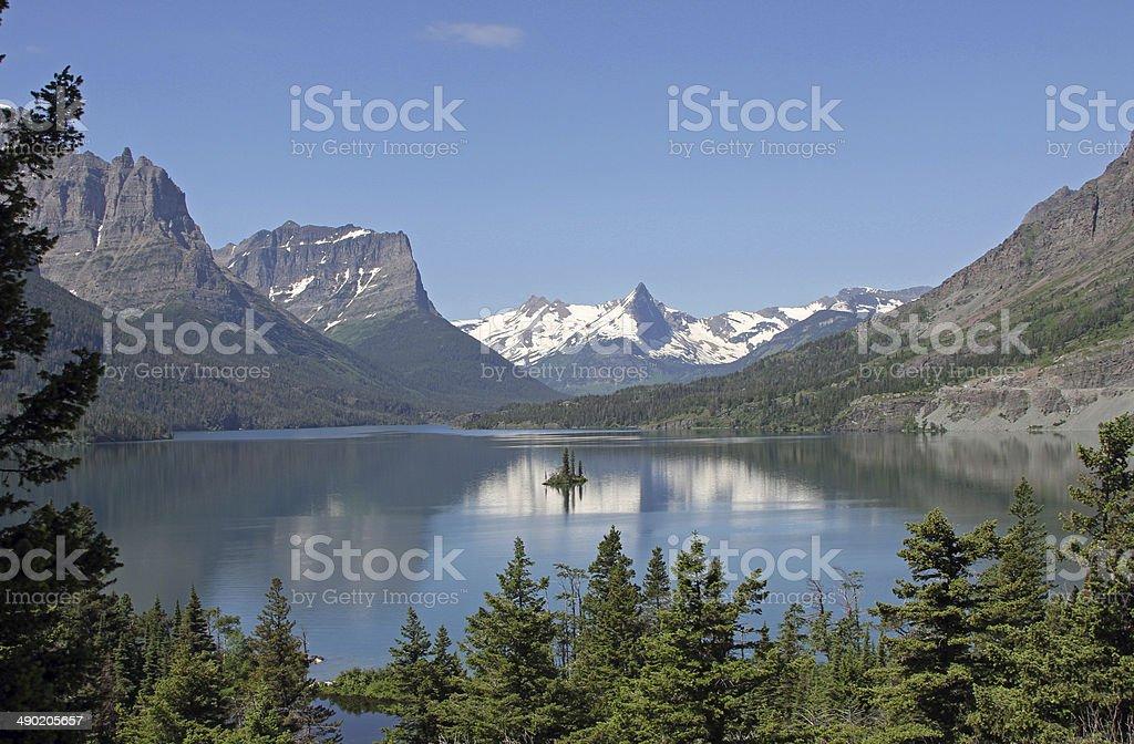 St Mary's Lake, US Glacier National Park stock photo