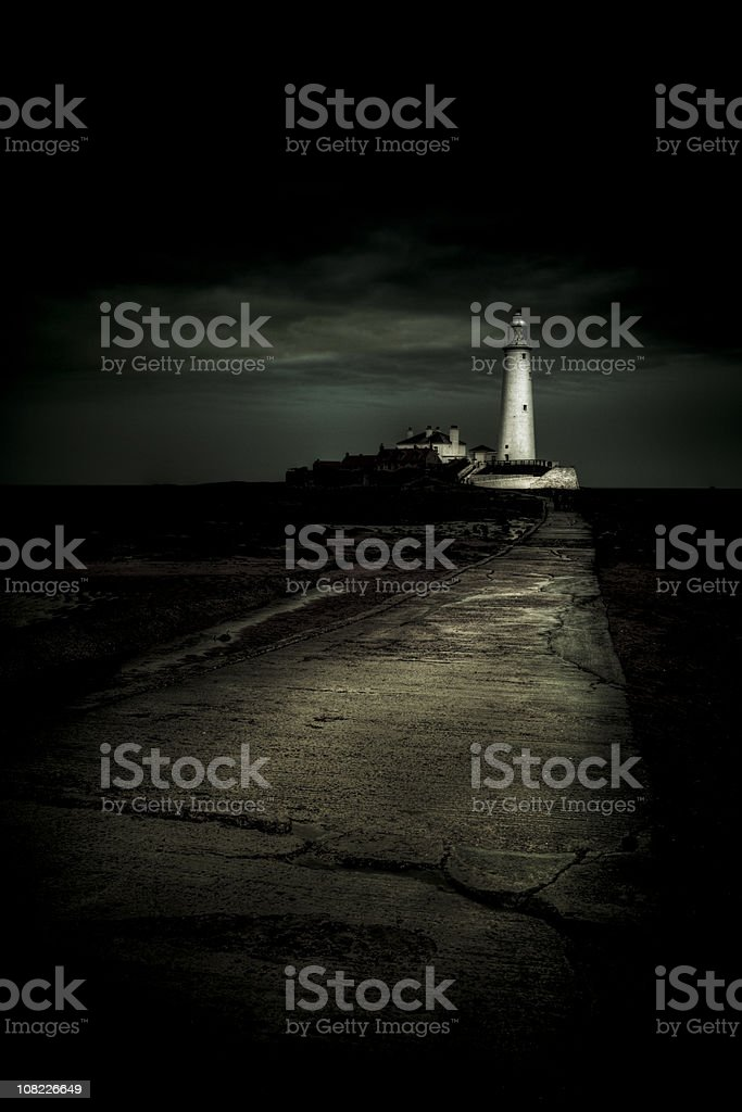 St. Mary's Lighthouse lightning up the night in Whitley Bay royalty-free stock photo