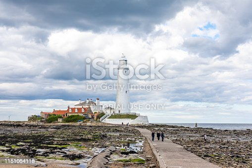 Whitley Bay, England. 22.05.19. View of St Mary's Lighthouse on the Seafront