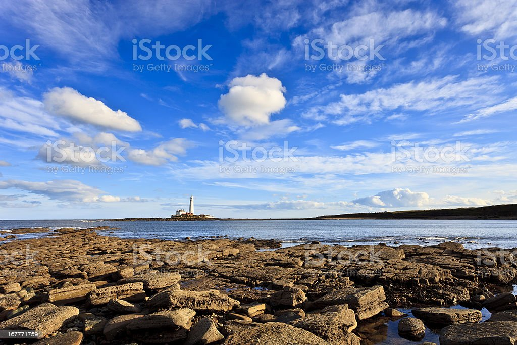 St Mary's Lighthouse stock photo