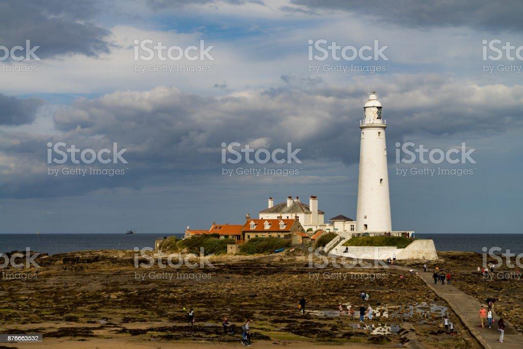 St. Mary's Lighthouse stock photo