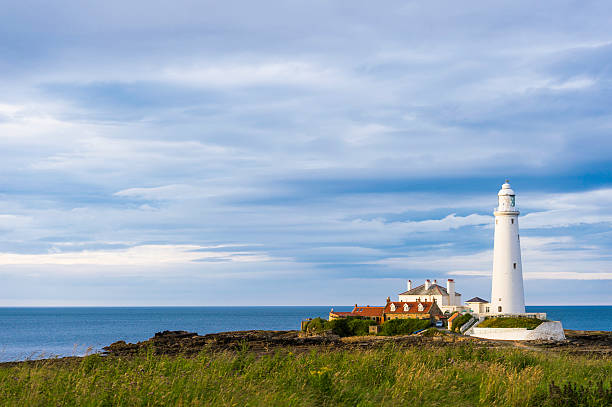 St. Mary's lighthouse Whitley Bay north east England stock photo