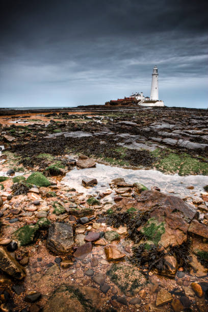 St Mary's Lighthouse, Whitley Bay stock photo