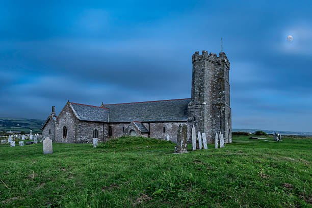 St Materiana's parish church in Cornwall at night stock photo