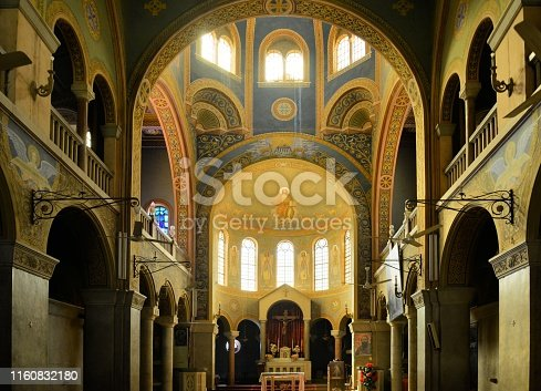 Khartoum, Sudan: nave, altar and apse of the Catholic Cathedral of St. Matthew, the Apostle - arches of the transept - seat of the Archbishop of the Archdiocese of Khartoum, completed in 1908 in the neo-Romanesque style - Al Qadarif
