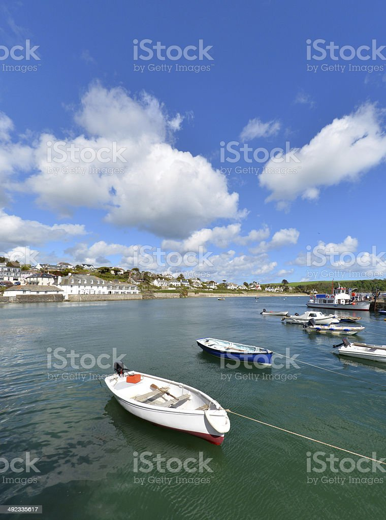 St. Mawes Quay with boats stock photo