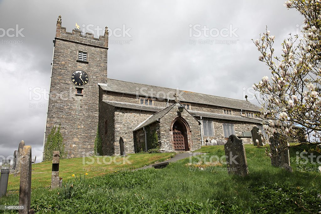 St Michael and All Angels' Church from the graveyard royalty-free stock photo