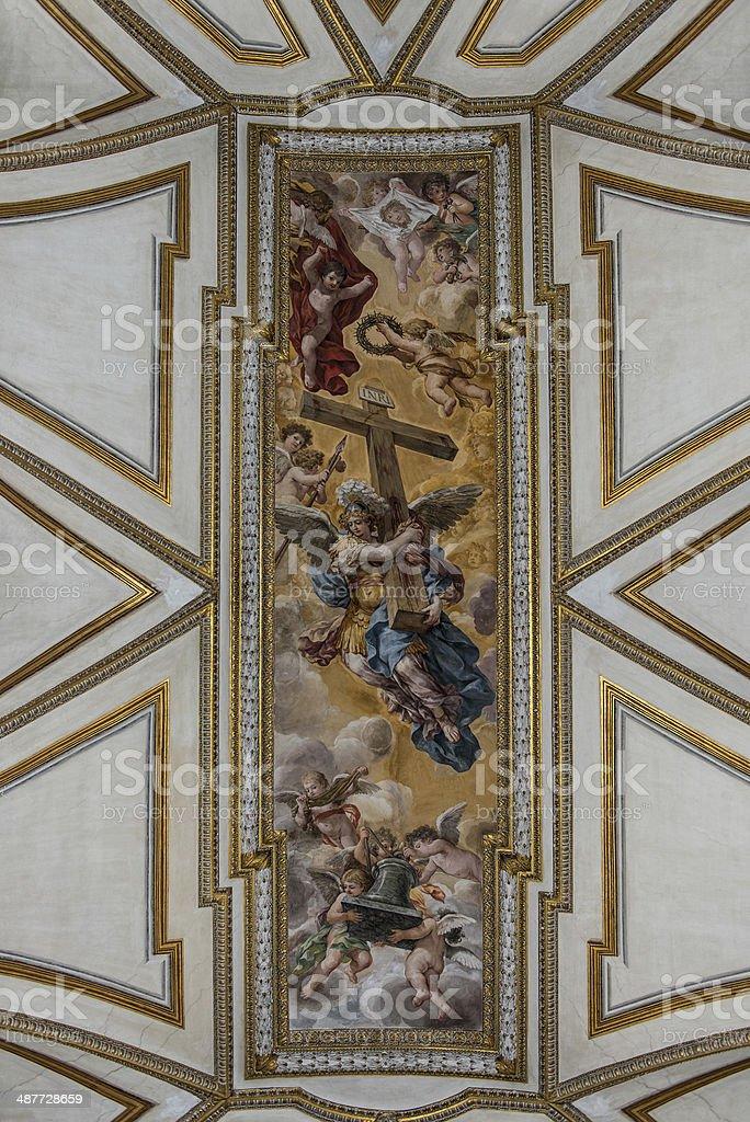 St. Michael and Angels, Pietro da Cortona stock photo