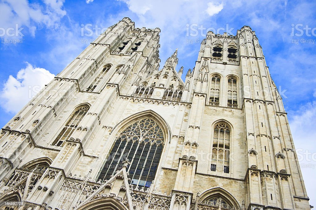 St. Michael and Saint Gudula Cathedral, Brussels, Belgium stock photo