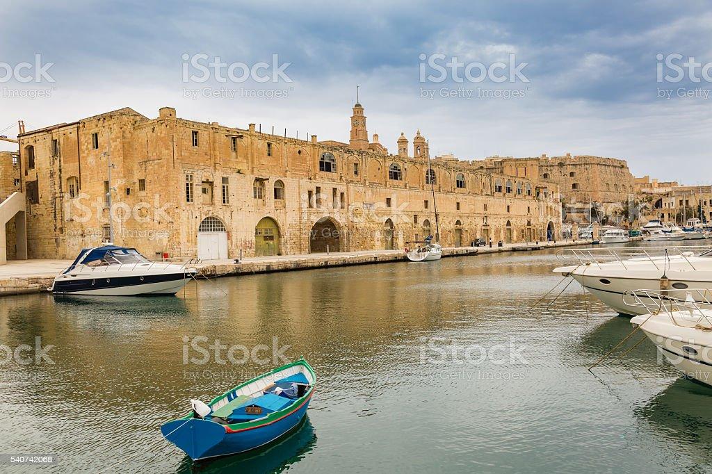 St Michael Bastion and Vittoriosa Yacht Marina stock photo