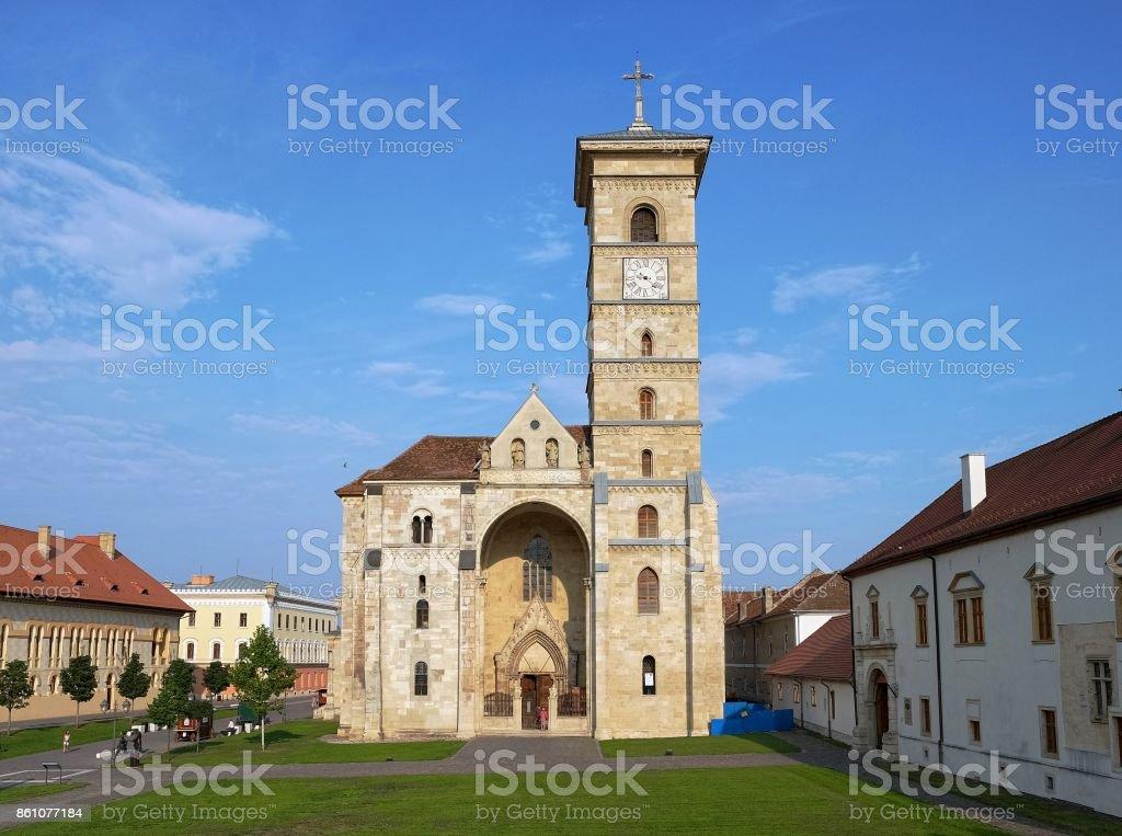 St. Michael Cathedral inside Carolina Citadel of Alba Iulia, Romania stock photo