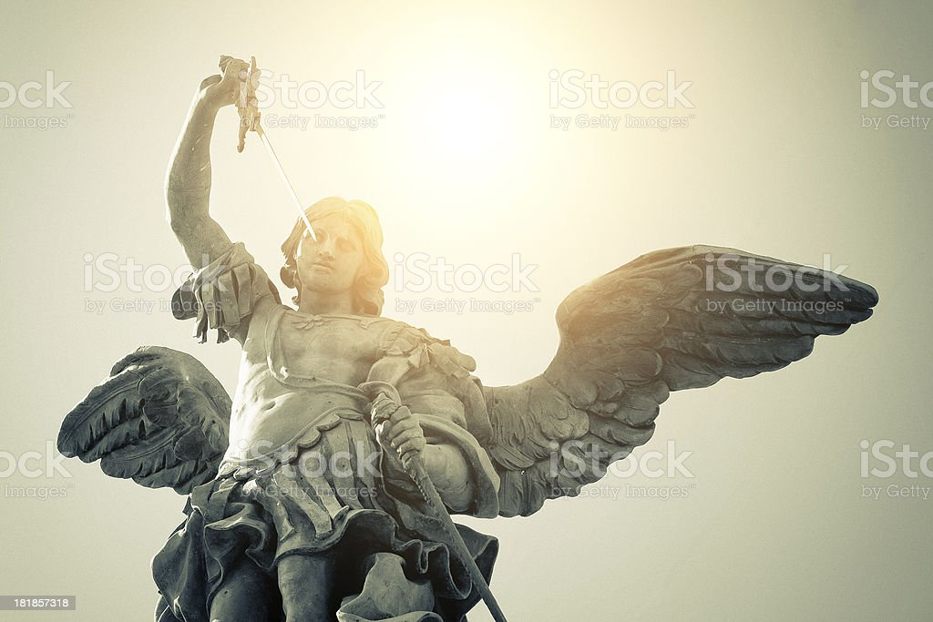 Castel Sant'Angelo St. Michael Statue stock photo