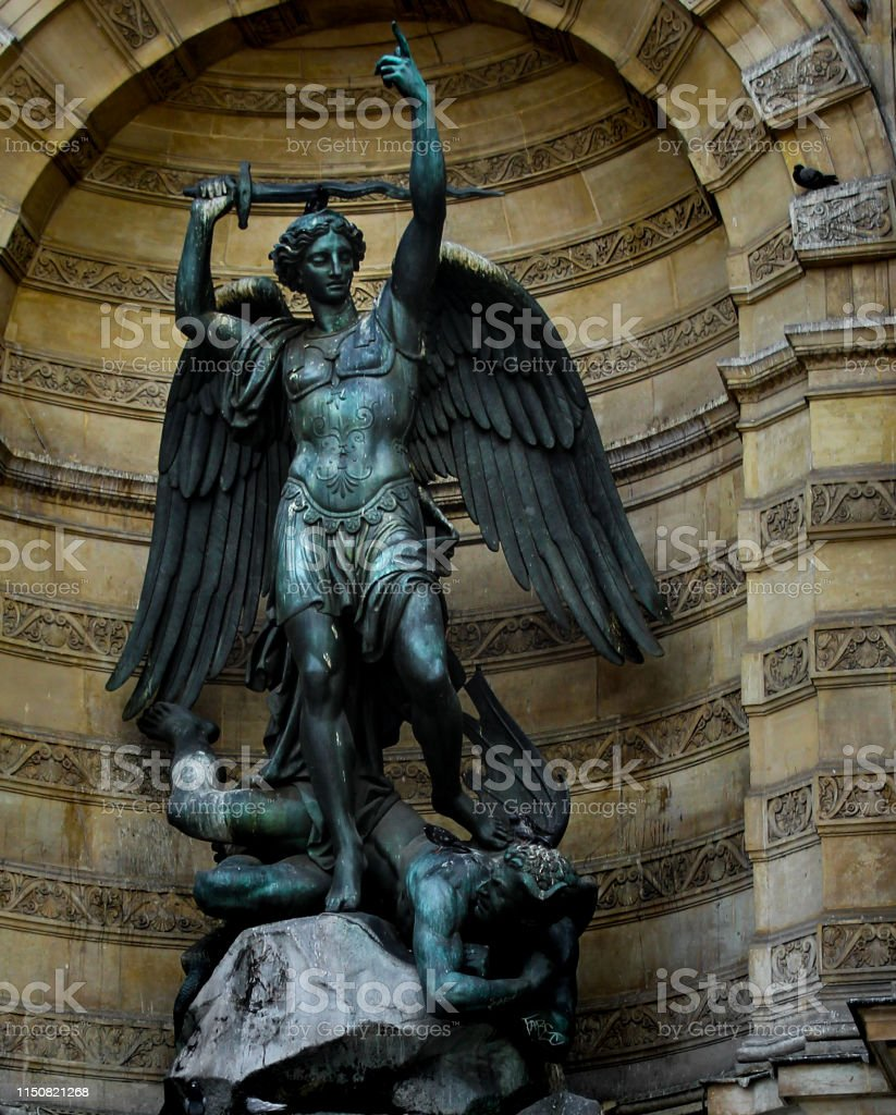 St. Michael statue. St. Michael statue. Detail from St Michael fountain at Paris, France. Angel Stock Photo