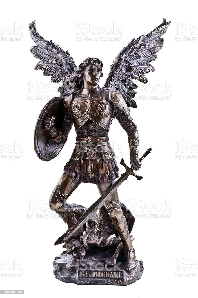 St. Michael statue stock photo