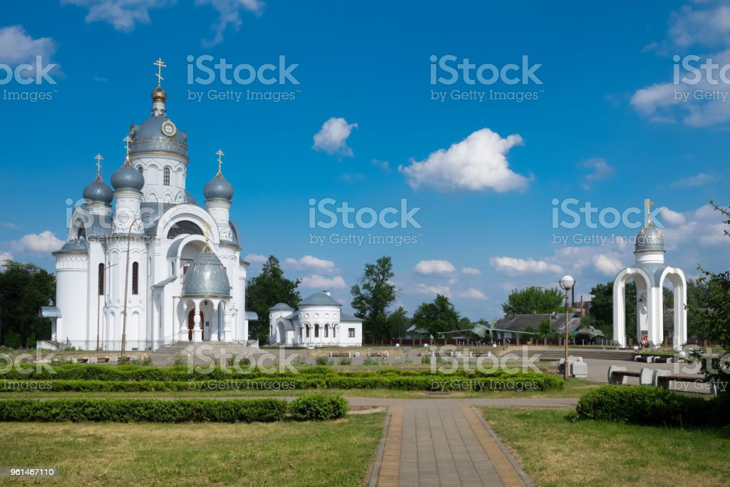 St Michael the Archangel Church and old city park, Beryoza city, Brest region, Belarus. stock photo