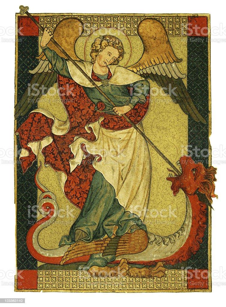 St Michael triumphant over the devil antique painting stock photo