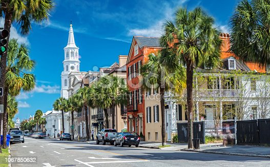 istock St. Michaels Church and Broad St. in Charleston, SC 1067850632