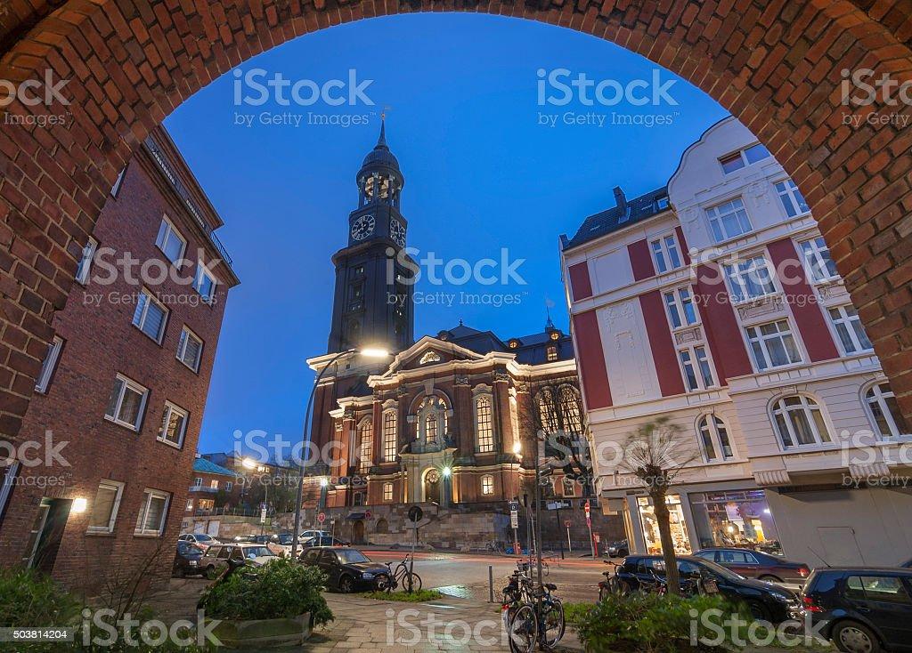 St. Michael's Church in Hamburg at Dusk stock photo