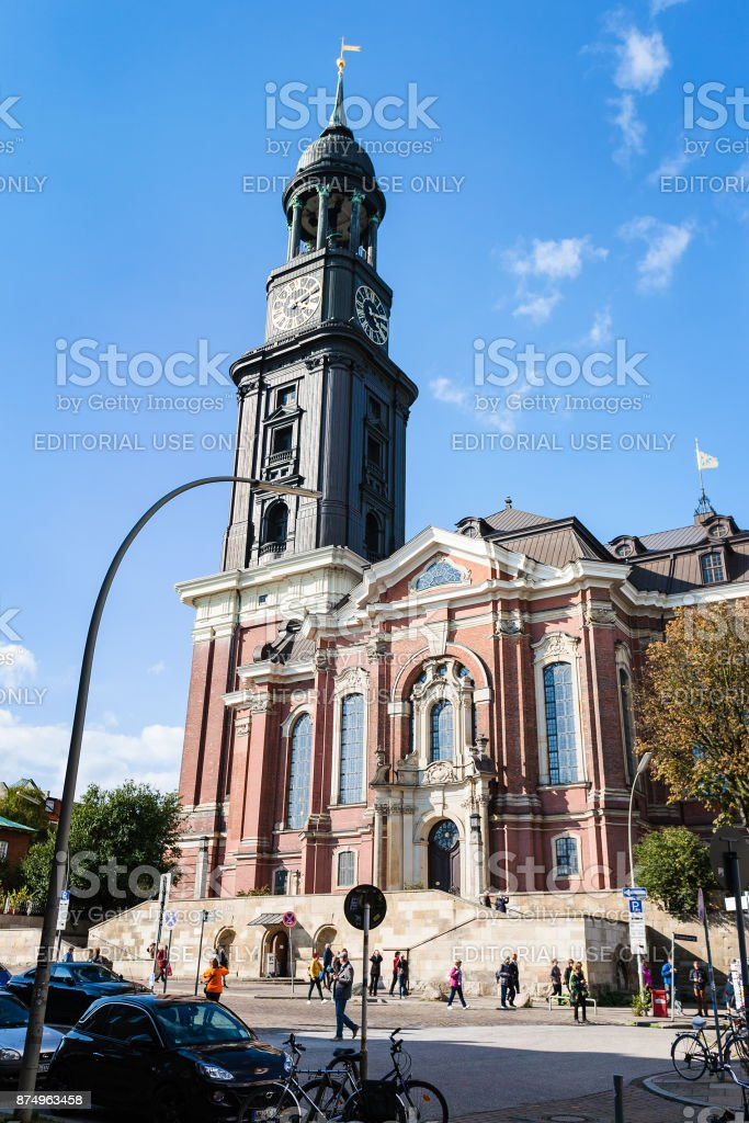 St Michael's Church in Hamburg city stock photo