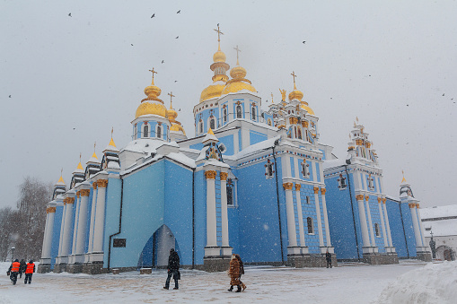 Kiev: St. Michael's Golden-Domed Monastery in a snow storm