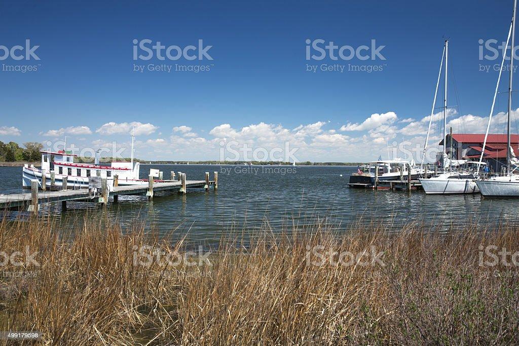 St. Michael's Harbor in Maryland at Chesapeake Bay Maritime Museum stock photo