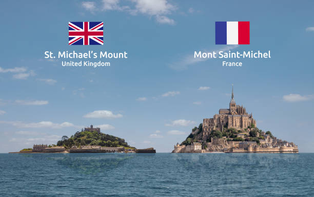 St. Michael's Mount and Mont Saint-Michel Together Labelled Concept montage comparing St. Michael's Mount (UK) and Mont Saint-Michel (France).  With coutry flags and labels. manche stock pictures, royalty-free photos & images