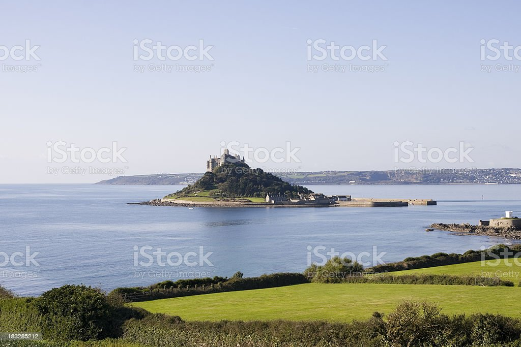 St Michael's Mount in Cornwall from a lookout near Marazion stock photo