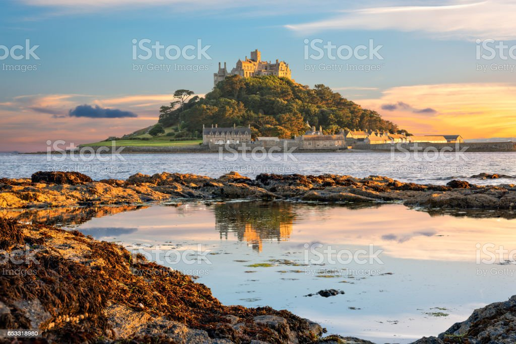 St Michael's Mount island in Cornwall stock photo