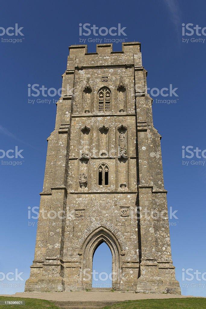St. Michael's Tower on Glastonbury Tor hill Somerset stock photo
