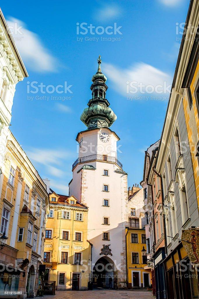 St. Michaels watch tower in Bratislava city stock photo