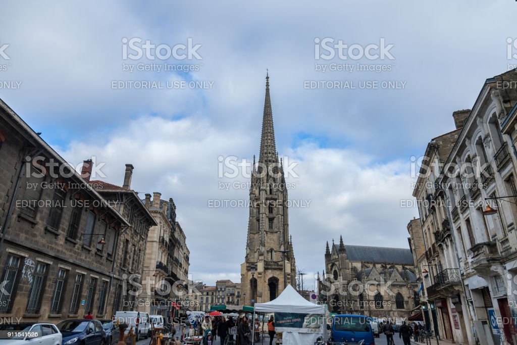 St Michel Basilica (Basilique Saint Michel) with its iconic tower in the city center of Bordeaux. This gothic chuch is one of most visible landmarks of the city stock photo