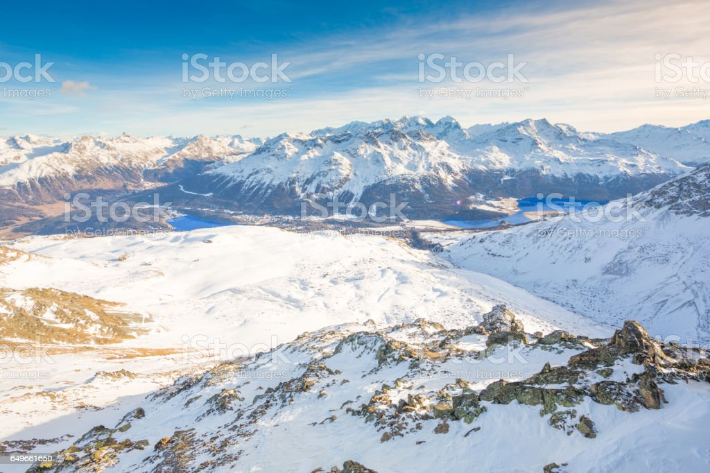 St. Moritz from Piz Nair Alps stock photo