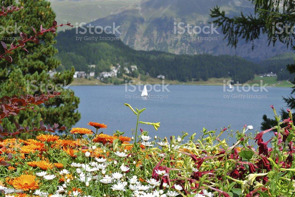 St. Moritz Lake View royalty-free stock photo