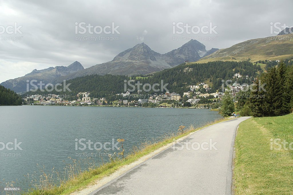 St. Moritz Lake with Cloudy Sky royalty-free stock photo