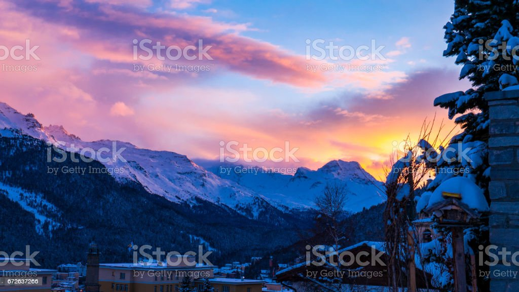 St moritz sunset stock photo