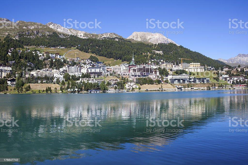 St. Moritz, Switzerland on a sunny day stock photo