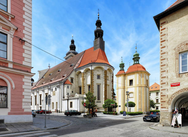 St. Nicholas Cathedral and Chapel of the Passion of Jesus in Ceske Budejovice, Czech Republic stock photo