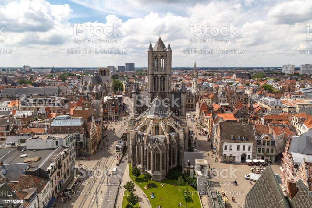 St Nicholas Church and Panoramic View of Gent royalty-free stock photo