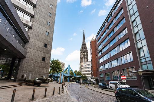 St Nicholas church from Deichstrasse in Hamburg