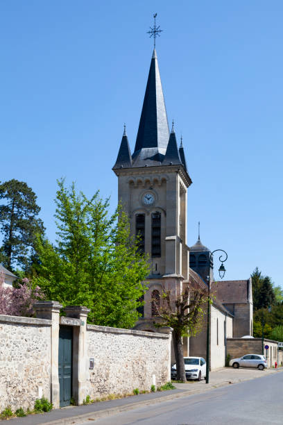 St. Nicholas Church in Lamorlaye (Oise) stock photo